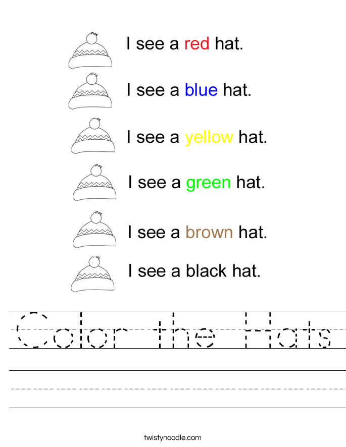 Color Worksheets Acurlunamediaco. Color The Hats Worksheet Twisty Noodle. Worksheet. Color Yellow Worksheets At Clickcart.co