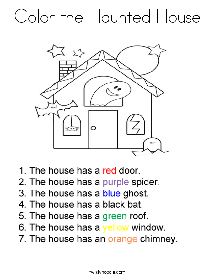Color the Haunted House Coloring Page Twisty Noodle