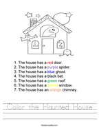 Color the Haunted House Handwriting Sheet