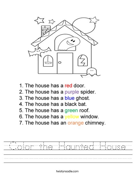 Color the haunted house Worksheet