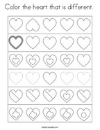 Color the heart that is different  Coloring Page