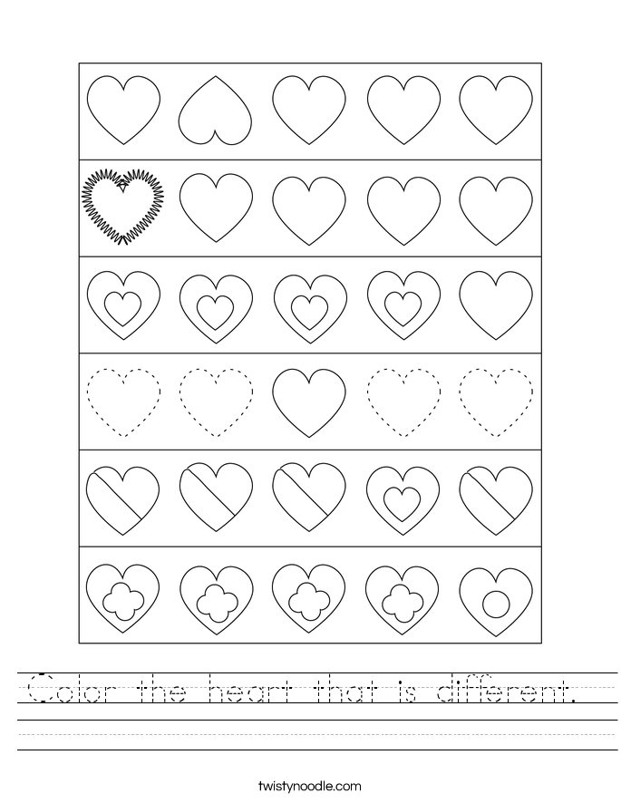 Color the heart that is different.  Worksheet