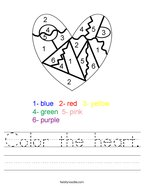 Color the heart Handwriting Sheet
