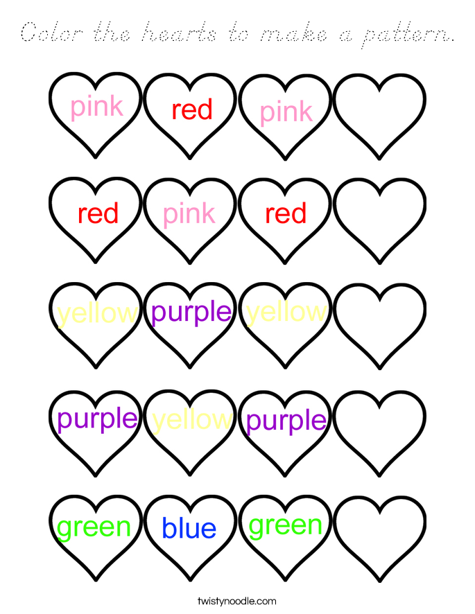 Color the hearts to make a pattern. Coloring Page