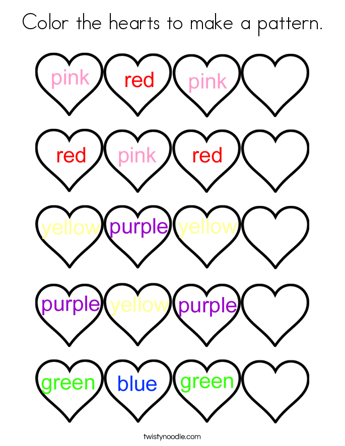 color the hearts to make a pattern coloring page