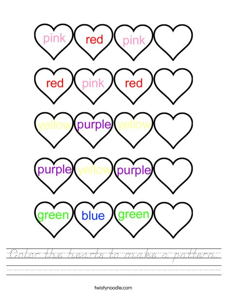 Color the hearts to make a pattern. Worksheet