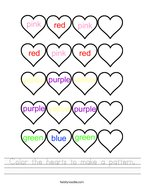 Color the hearts to make a pattern Handwriting Sheet