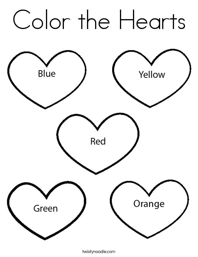 Color the Hearts Coloring Page - Twisty Noodle