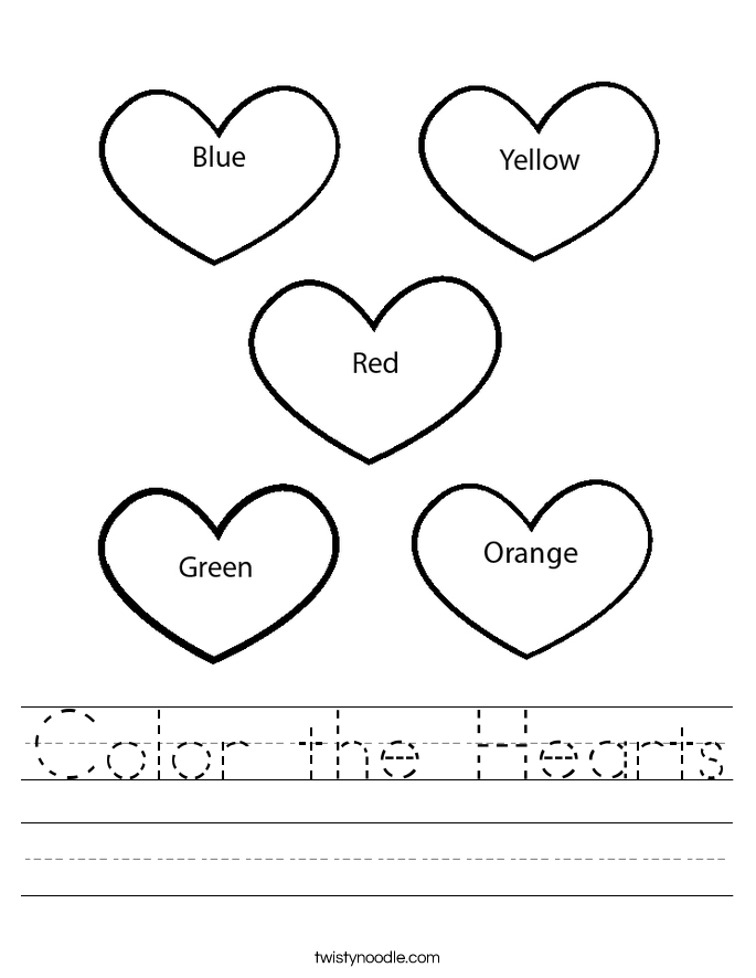 Printables Heart Worksheets color the hearts worksheet twisty noodle worksheet