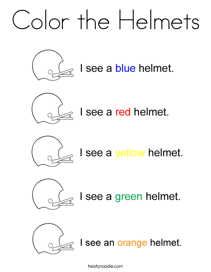 Color the Helmets Coloring Page
