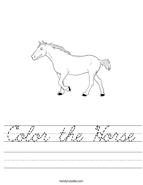 Color the Horse Worksheet