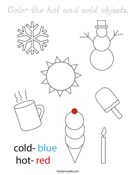 Color the hot and cold objects.  Coloring Page