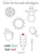 Color the hot and cold objects Coloring Page