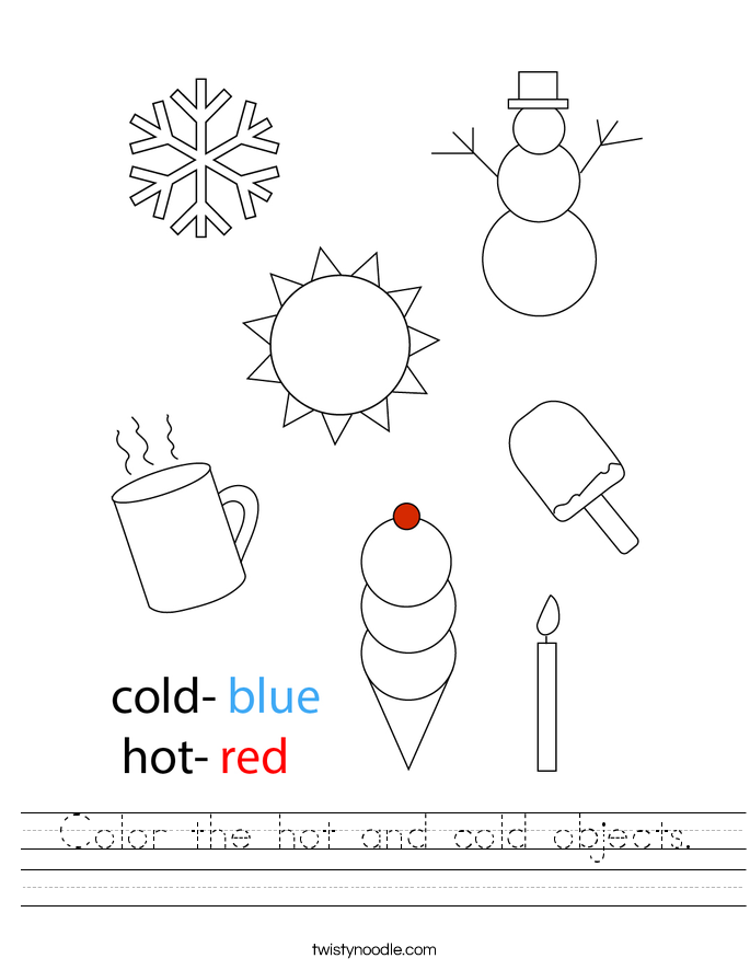 Color the hot and cold objects. Worksheet