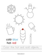 Color the hot and cold objects Handwriting Sheet