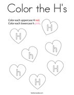 Color the H's Coloring Page
