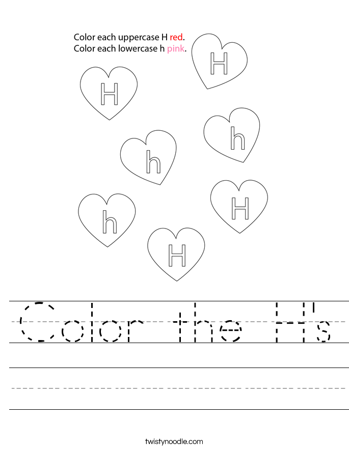 Color the H's Worksheet