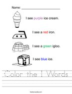 Color the I Words Handwriting Sheet