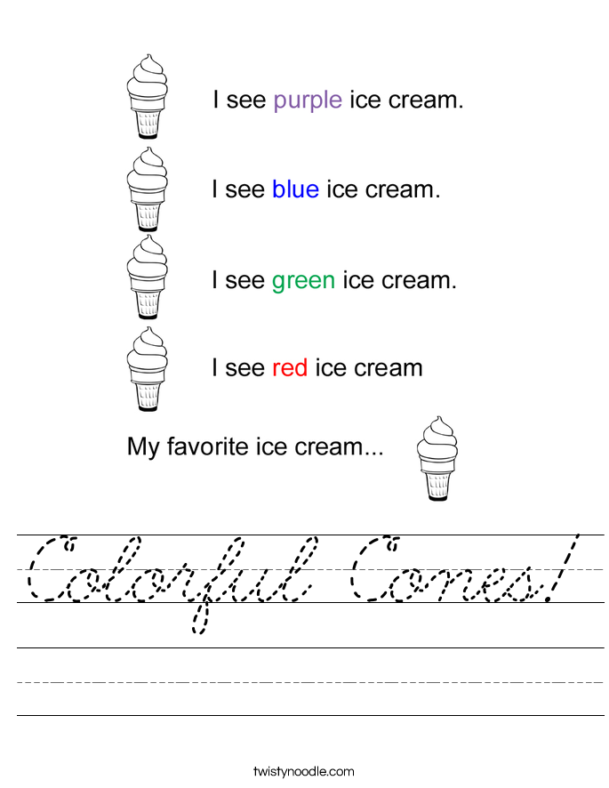 Colorful Cones! Worksheet