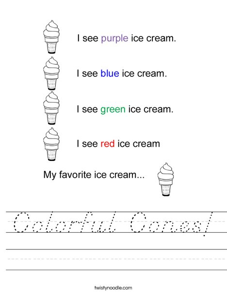 Color the Ice Cream Cones Worksheet
