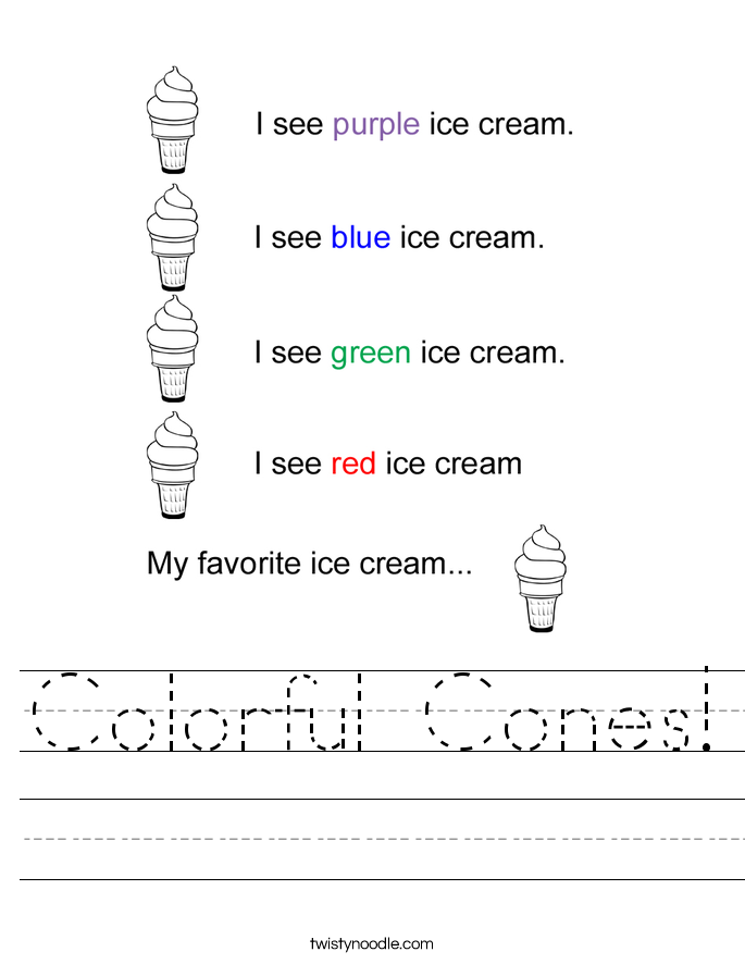 Colorful Cones! Worksheet
