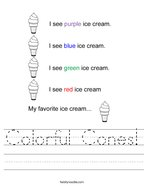 Colorful Cones Handwriting Sheet