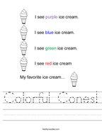 Colorful Cones Handwriting Sheet