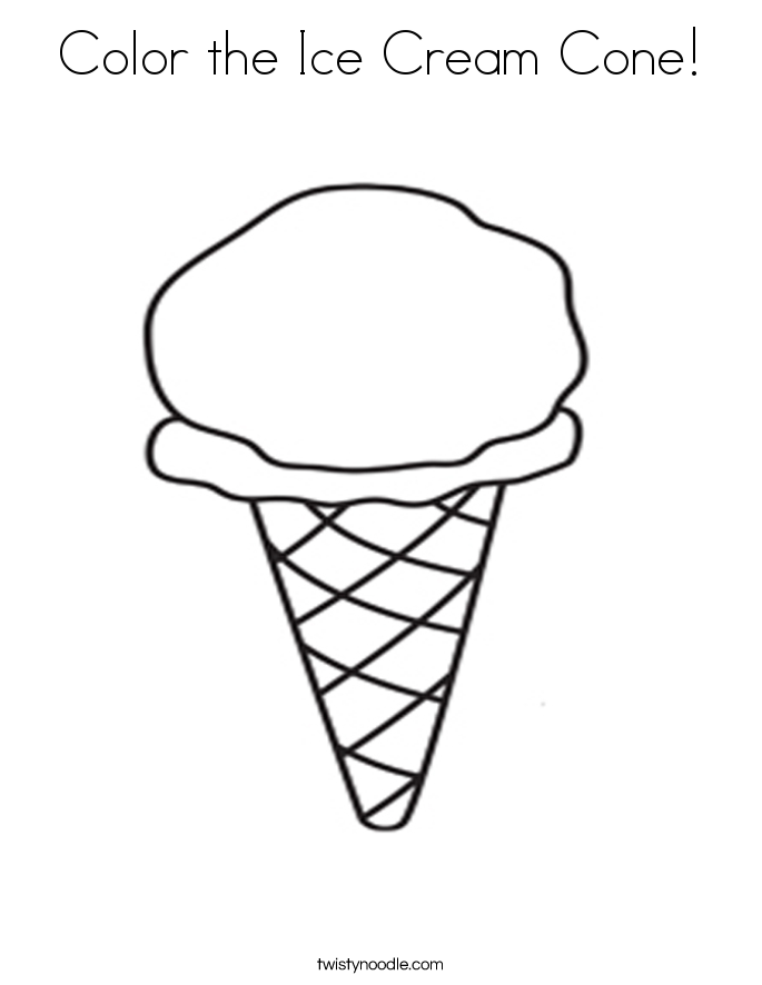 Color the Ice Cream Cone! Coloring Page