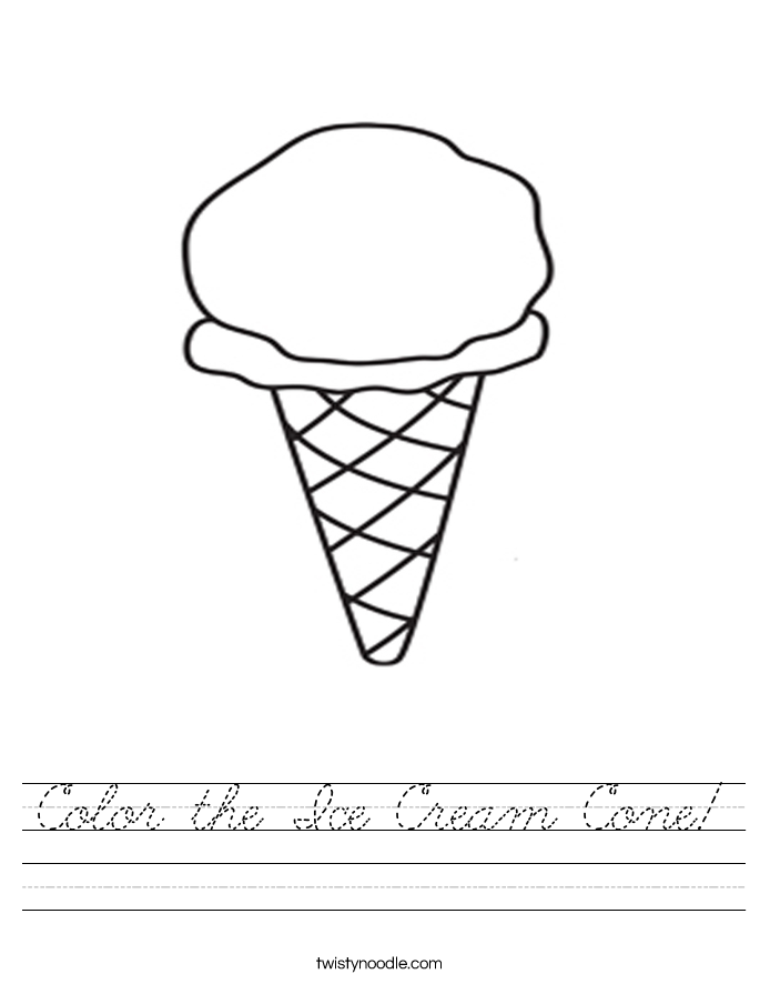 Color the Ice Cream Cone! Worksheet