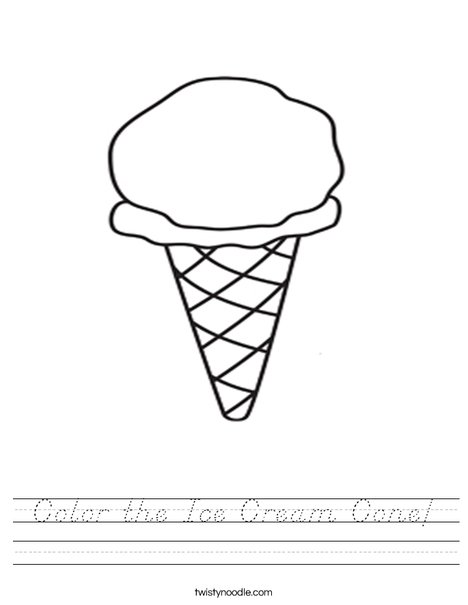 Color the Ice Cream Cone Worksheet