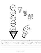 Color the Ice Cream Handwriting Sheet