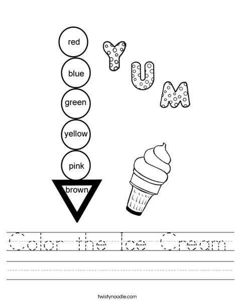 Color the Ice Cream Worksheet