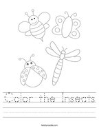 Color the Insects Handwriting Sheet