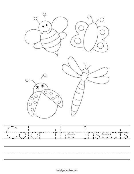Color the Insects Worksheet
