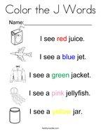Letter J Coloring Pages   Twisty Noodle