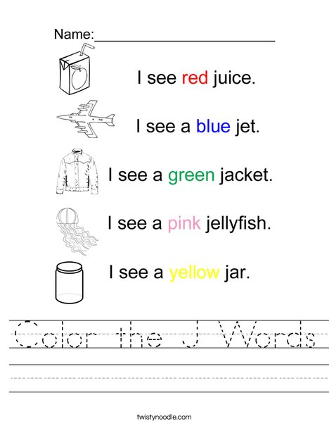 Color the J Words Worksheet