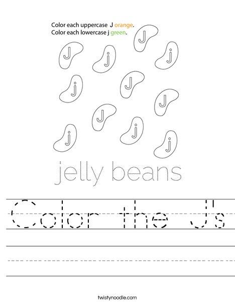 Color the J's Worksheet