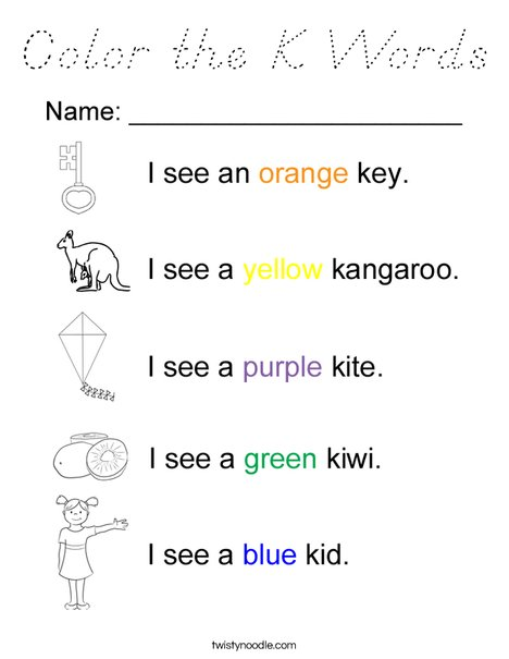 Color the K Words Coloring Page