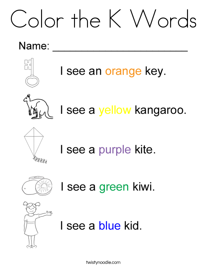 Color With The Letter K