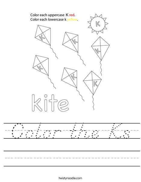 Color the K's Worksheet