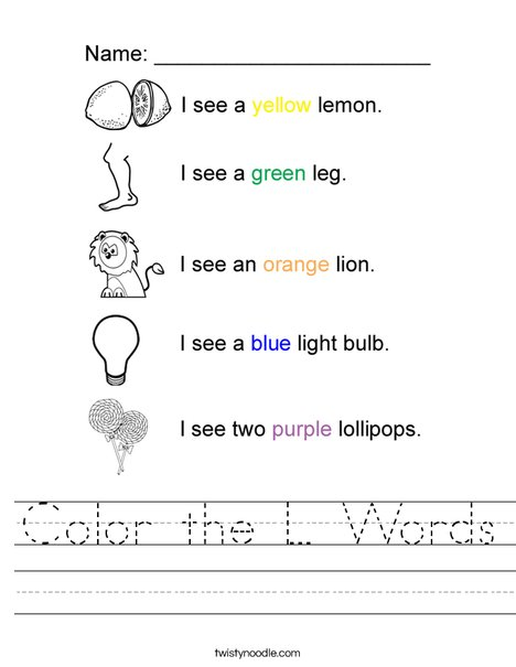 Color the L Words Worksheet