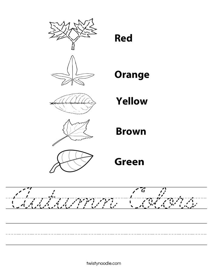 Autumn Colors Worksheet