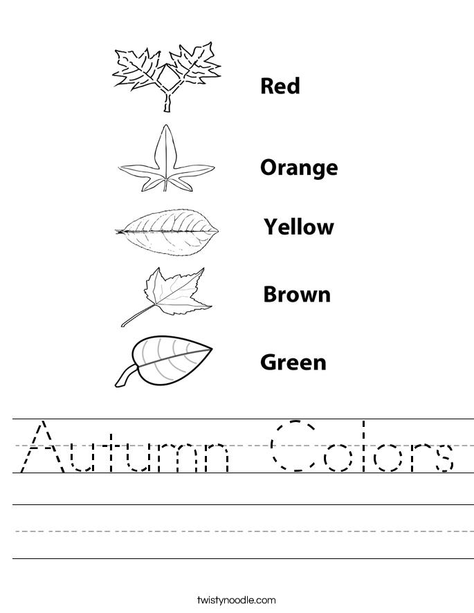 autumn colors worksheet twisty noodle. Black Bedroom Furniture Sets. Home Design Ideas