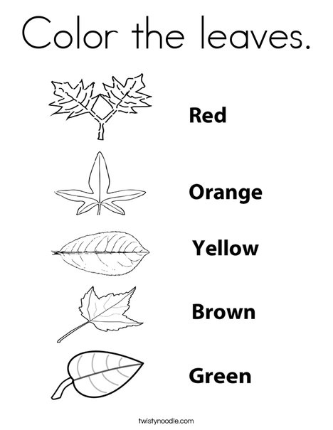 Color the leaves Coloring Page - Twisty Noodle