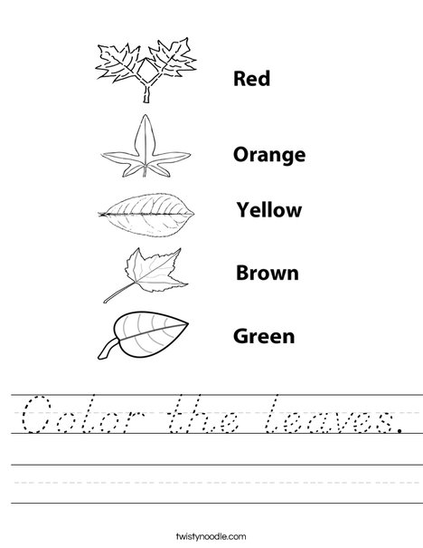 Color the leaves. Worksheet