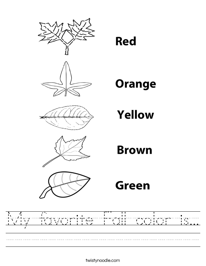 My favorite Fall color is... Worksheet