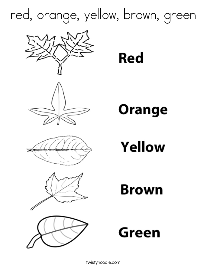 red, orange, yellow, brown, green Coloring Page