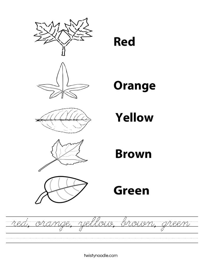 red, orange, yellow, brown, green Worksheet