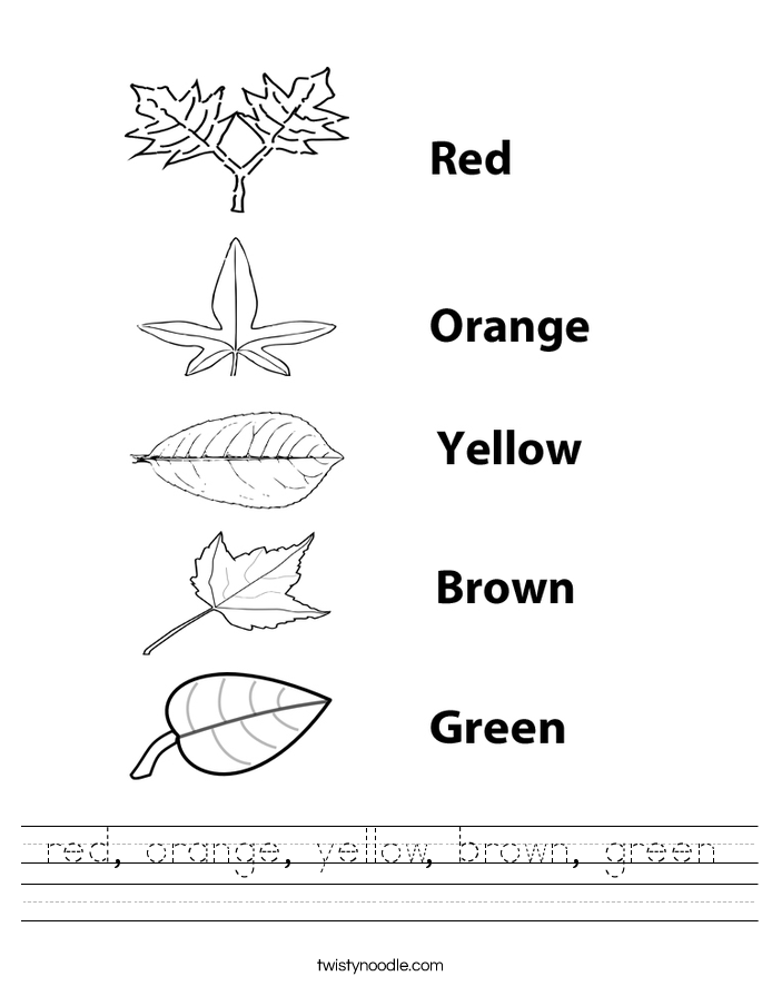 Red Orange Yellow Brown Green Worksheet Twisty Noodle