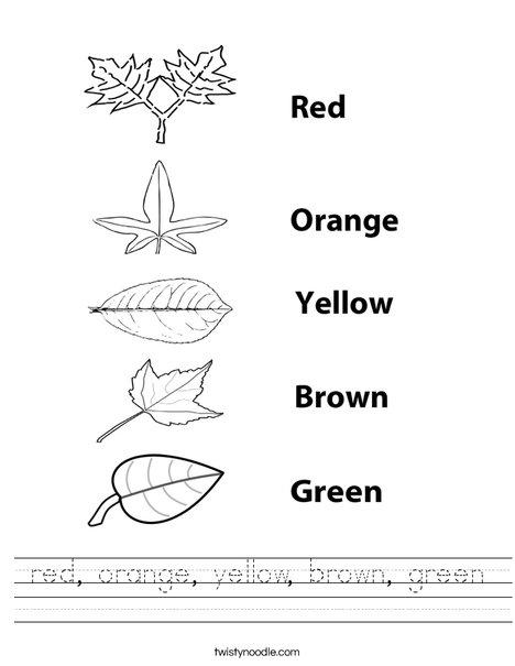 Color the leaves. Worksheet